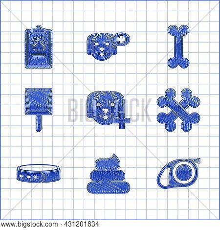 Set Veterinary Clinic Symbol, Shit, Retractable Cord Leash With Carabiner, Crossed Bones, Collar Nam