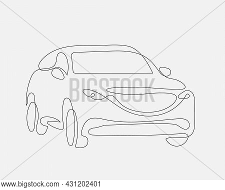 Auto Concept One Line Design. Vector Car From Lines. Hand Drawing Modern Suv.