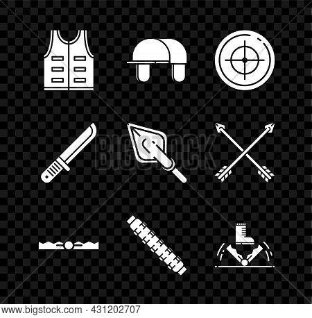 Set Hunting Jacket, Hunter Hat, Target Sport For Shooting Competition, Trap Hunting, Cartridge Belt