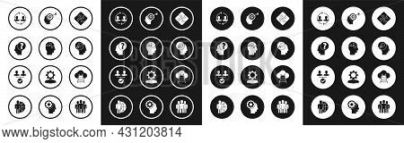 Set Piece Of Puzzle, Human Head Puzzles Strategy, With Question Mark, Resources, Lamp Bulb, Head Hun
