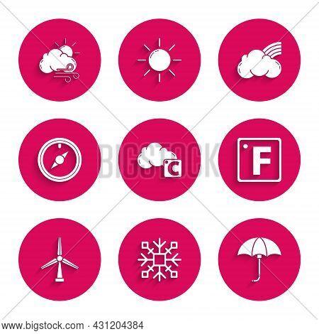 Set Celsius And Cloud, Snowflake, Classic Elegant Opened Umbrella, Fahrenheit, Wind Turbine, Rose, R