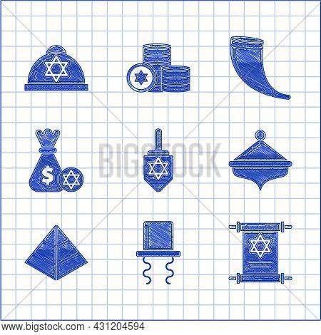 Set Hanukkah Dreidel, Orthodox Jewish Hat With Sidelocks, Torah Scroll, Egypt Pyramids, Jewish Money