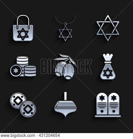 Set Olives Branch, Hanukkah Dreidel, Tombstone With Star Of David, Jewish Money Bag, Coin, Star Davi