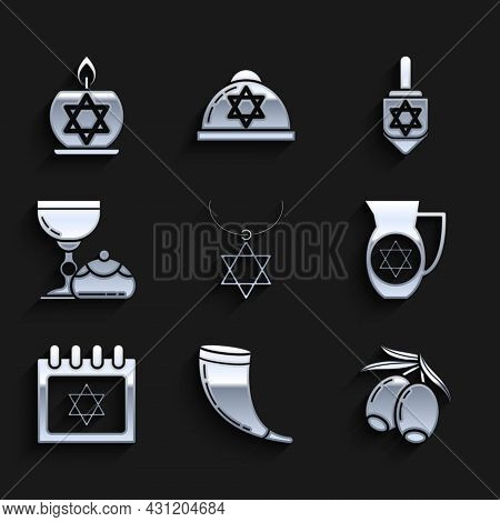 Set Star Of David Necklace On Chain, Shofar, Olives Branch, Decanter With Star David, Jewish Calenda