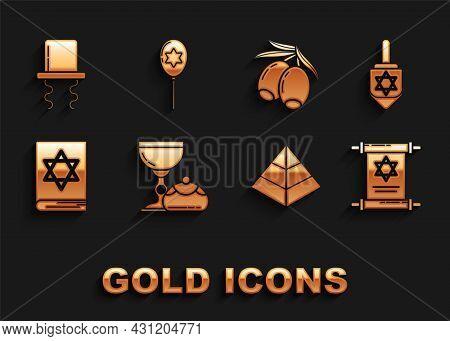 Set Jewish Goblet And Hanukkah Sufganiyot, Hanukkah Dreidel, Torah Scroll, Egypt Pyramids, Torah Boo