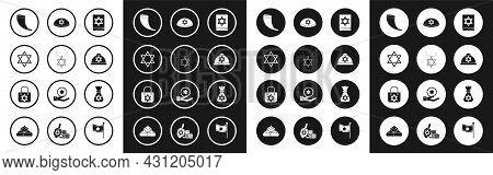 Set Jewish Torah Book, Star Of David Necklace On Chain, Traditional Ram Horn, Shofar, Kippah With St