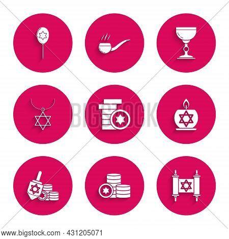 Set Jewish Coin, Torah Scroll, Burning Candle Candlestick With Star Of David, Hanukkah Dreidel, Star