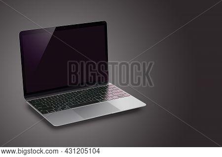 Modern Laptop With Black Screen On Dark Background. 3d Render.