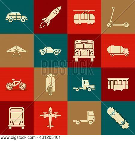 Set Skateboard, Old City Tram, Tanker Truck, Tram And Railway, Sedan Car, Hang Glider, Hatchback And