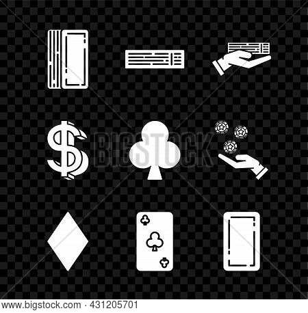 Set Deck Of Playing Cards, Hand Holding Deck, Playing With Diamonds Symbol, Clubs, Back, Dollar And