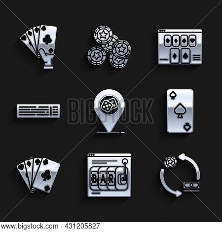 Set Casino Location, Online Slot Machine, Chips Exchange Stacks Of Dollars, Playing Card With Spades