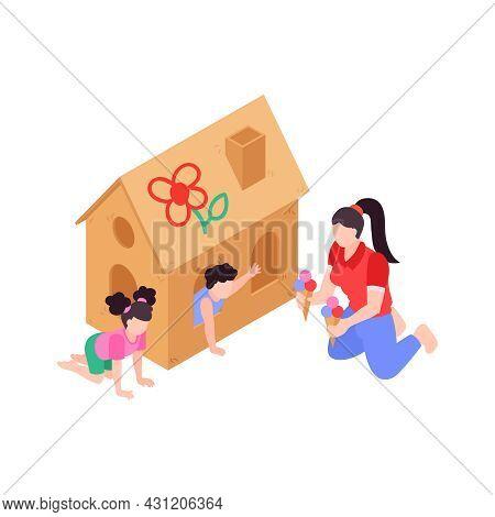 Mum Giving Ice Cream To Children On Playground 3d Isometric Vector Illustration
