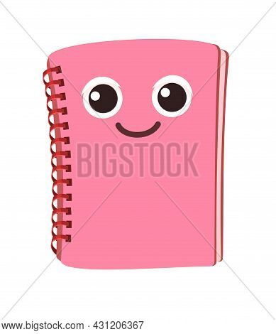 Pink Book Or Notebook. Cheerful Cute Cartoon Character. Childrens Design. Isolated On White Backgrou