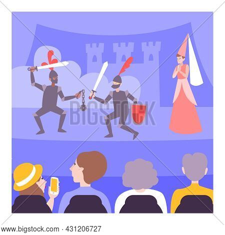 Teens Performing On Theatre Stage In Knights Armor In Front Of Audience Flat Vector Illustration