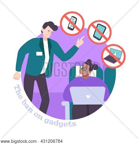 Ban On Gadgets During Flight Flat Composition With Angry Steward Asking Passenger Turn Off Laptop Ve
