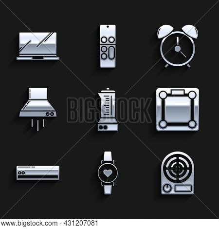 Set Blender, Smart Watch Showing Heart Beat Rate, Electric Heater, Bathroom Scales, Air Conditioner,
