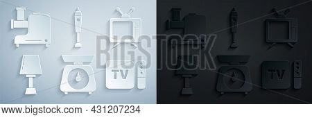 Set Scales, Television, Table Lamp, Tv Box Receiver And Player With Remote Controller, Blender And K