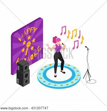 Woman Performing On Stage In Karaoke Club 3d Isometric Vector Illustration