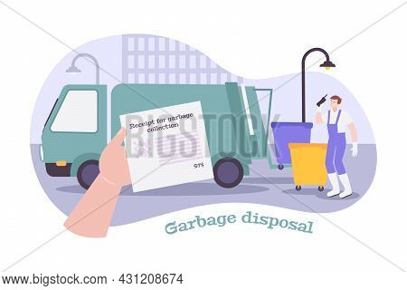 Garbage Disposal Composition With Utility Service Worker Truck Receipt Vector Illustration