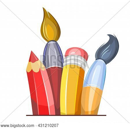 Stationery. Brushes And Pencils. Cartoon Funny Style. Symbolic Object. Childrens Design. Isolated On