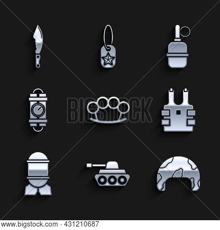Set Brass Knuckles, Military Tank, Helmet, Bulletproof Vest For Protection From Bullets, Aviation Bo