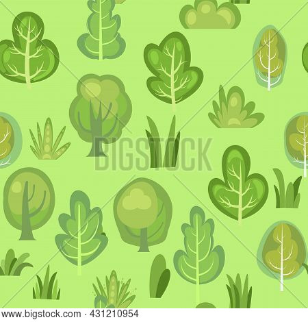 Flat Forest. Seamless Pattern. Illustration In A Simple Symbolic Style. Meadow. Funny Green Landscap