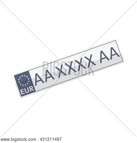 Europe License Plate Flat Icon On White Background Vector Illustration