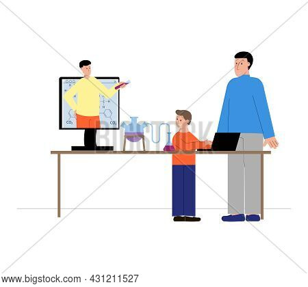 Tutoring Flat Composition With Online Science Lesson And Human Characters Vector Illustration