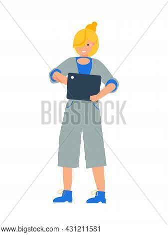Flat Character Of Smiling Woman Using Electronic Tablet Vector Illustration