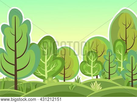 Flat Forest. Illustration In A Simple Symbolic Style. Funny Green Rural Landscape. Hills. Comic Desi
