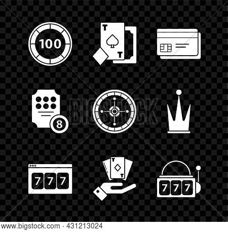 Set Casino Chips, Playing Card With Spades, Credit, Online Slot Machine Lucky Sevens Jackpot, Hand H