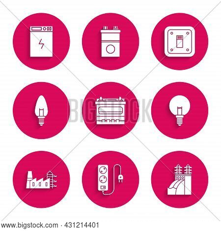 Set Car Battery, Electric Extension Cord, Nuclear Power Plant, Light Bulb, Power Station And Factory