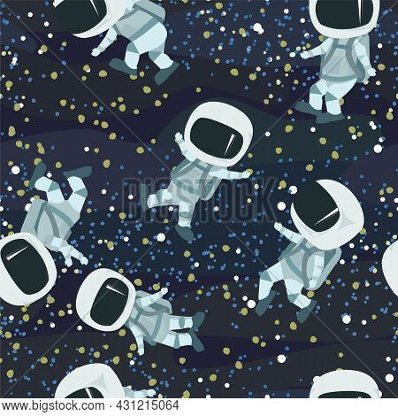 Astronauts In Spacesuits. Cosmos Background. Seamless Pattern. Childrens Illustration. Starry Sky La