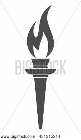 Torch Icon. Vector Image For Logos, Websites, Applications And Thematic Design, Flat Style.