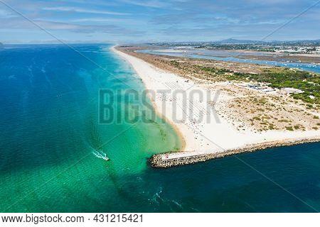 Aerial View Of The Tavira Island Beach, A Tropical Island Near The Town Of Tavira, Part Of The Natur