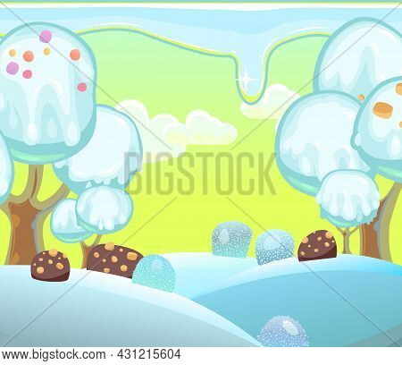 Landscape With Ice Cream On Chocolate Sticks. Childrens Picture Background. Cartoon Style. Snow Drif