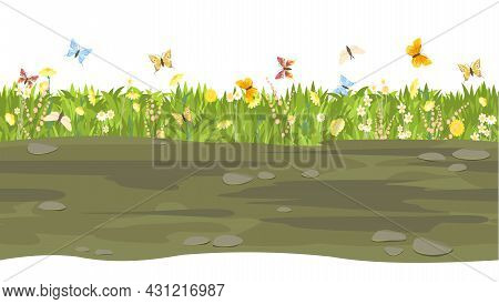 Seamless Earthy Road. Horizontal Border Composition. Summer Meadow Landscape. Juicy Grass. Rural Rus