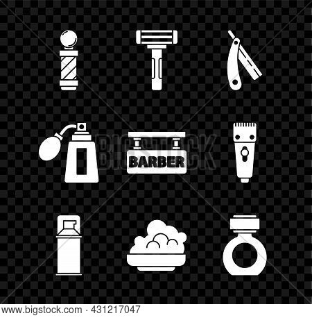 Set Classic Barber Shop Pole, Shaving Razor, Straight, Gel Foam, Aftershave, Bottle With Atomizer An