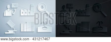 Set Oil Industrial Factory Building, Drop, Barrel Oil Leak, Oilfield, And Nature Saving Protest Icon