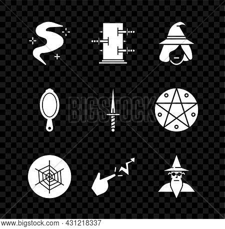 Set Magic Fog Or Smoke, Trunk For Magic Tricks, Witch, Spider Web, Spell, Wizard Warlock, Hand Mirro