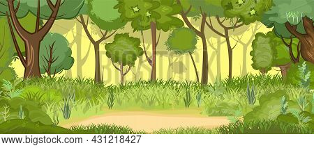 Glade In The Green Light Summer Forest. Oaks In The Grass. Flat Cartoon Style. Rural Landscape With