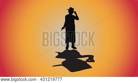 Abstract Background Of Silhouette Detective Investigate Violent Crimes With Shadow