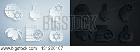Set Jewish Coin, Orthodox Jewish Hat, Olives Branch, Burning Candle, Hanukkah Dreidel And World Glob