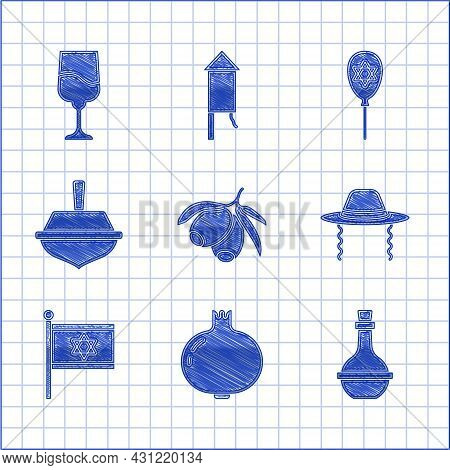 Set Olives Branch, Pomegranate, Jewish Wine Bottle, Orthodox Jewish Hat, Flag Of Israel, Hanukkah Dr