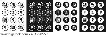 Set City Map Navigation, Location And Monument, Road Traffic Sign, Gps Device With, Anchor, Check Ma