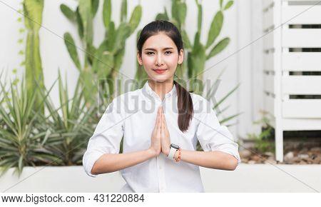 Young Beautiful Asian Women Practicing Yoga Meditation Sitting At Home.