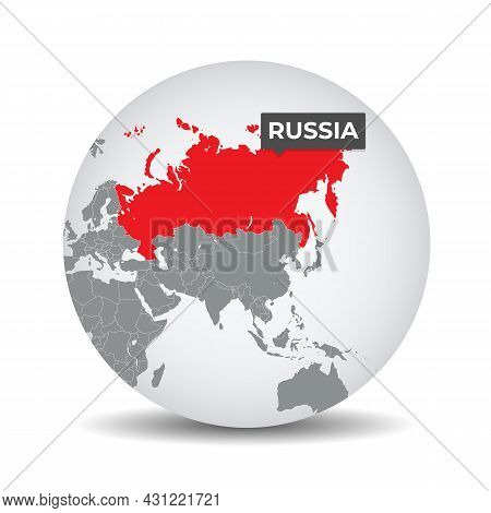 World Globe Map With The Identication Of Russia. Map Of Russia. Russia On Grey Political 3d Globe. A