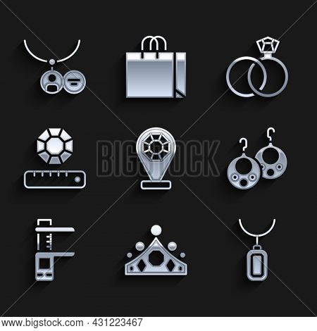 Set Jewelry Store, King Crown, Pendant On Necklace, Earrings, Calliper Caliper And Scale, Gem Stone,