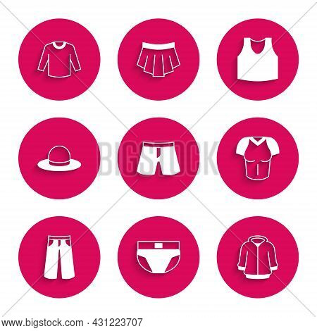 Set Short Or Pants, Men Underpants, Hoodie, T-shirt, Pants, Man Hat, Undershirt And Sweater Icon. Ve