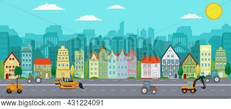 Vector Poster Overlooking The European City. A City With Skyscrapers And Working Machines. City Stre